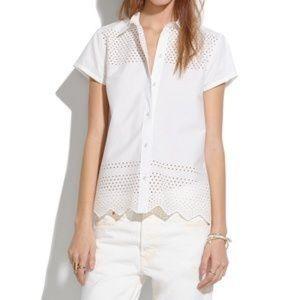 Madewell White Button Up Lattice Work Shirt